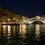 View of the Rialto Bridge from boat