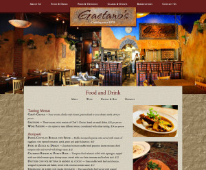 Gaetano's one-page, responsive web site concept menu section of medium-sized screen