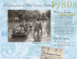 Elmhurst historical calendar, top layout for 1980s