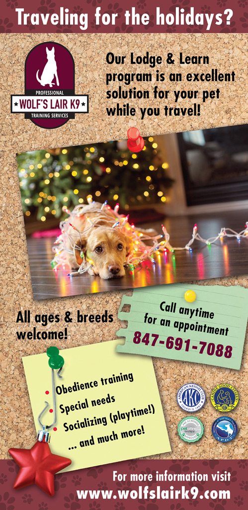 Holiday ad for a dog training service