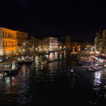 View of Venice canal at night