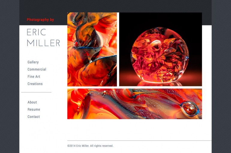 Photo site design for Eric Miller Photography